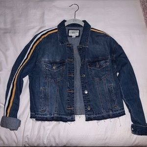 NEVER WORN jean jacket with striped detail